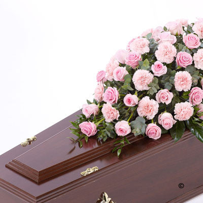Rose and Carnation Casket Spray - Pink - Ramsbothams Florists Milton Keynes