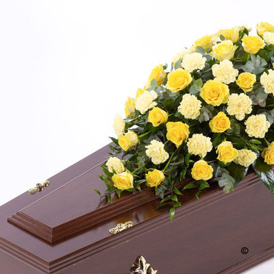 Rose and Carnation Casket Spray - Yellow - Ramsbothams Florists Milton Keynes