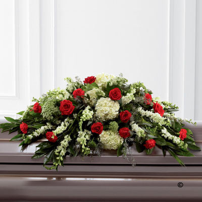 Mixed Casket Spray - Red and Green - Ramsbothams Florists Milton Keynes