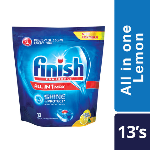 Finish All in One Dishwashing Tablets  Lemon - 13'S - Cantomart.co.za