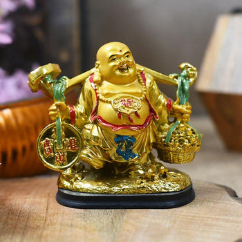 Feng Shui Golden Laughing Buddha for Wealth and Prosperity