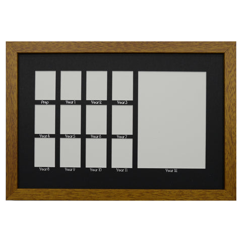 School Years Photo Frame - Medium - Black Mat with Silver Writing