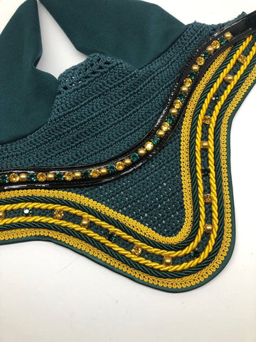 By Heike Green & Gold Set Swarovski Bonnet & Browband