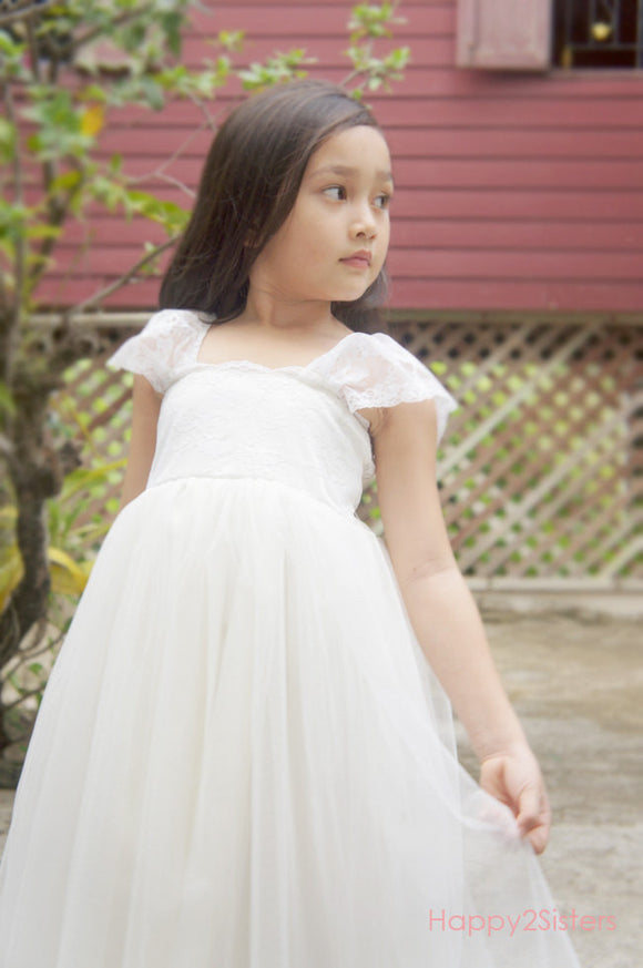 Lace and tulle flower girl dres Rustic wedding Woodland wedding Flower girl dress for wedding Toddler flower girl dress
