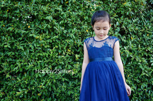 Navy blue flower girl dress Lace flower girl dress