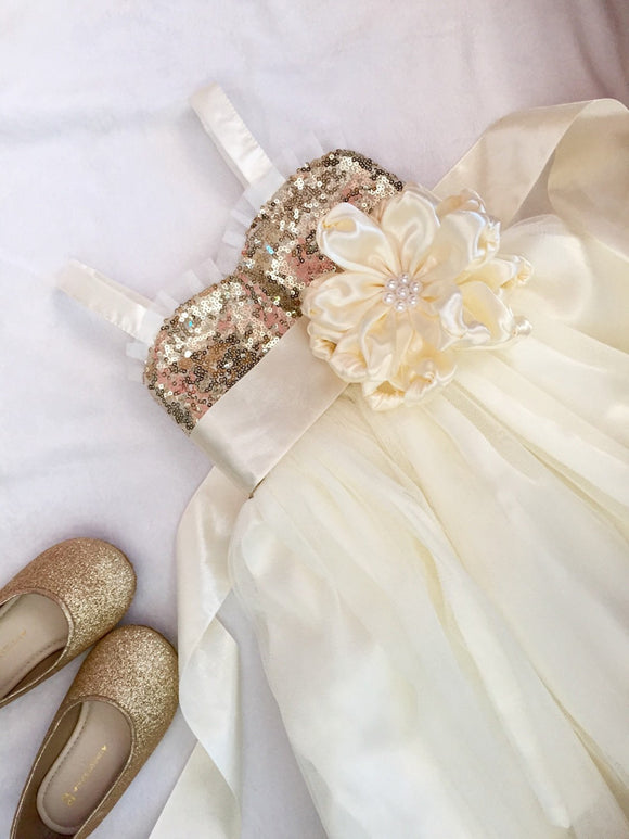 Champagne gold and ivory dress with ivory sash/ Flower girl dress for wedding/ Flower girl dress tulle