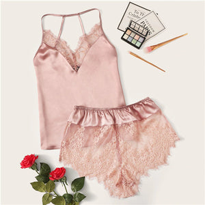 Lace Trim Satin Cami Top and Shorts Pj Set - Delicates By Yvonne