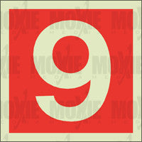 Red No. 9 (150X150mm) Photoluminescent Sign