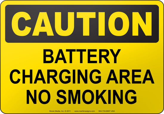 Caution: Battery Charging Area No Smoking