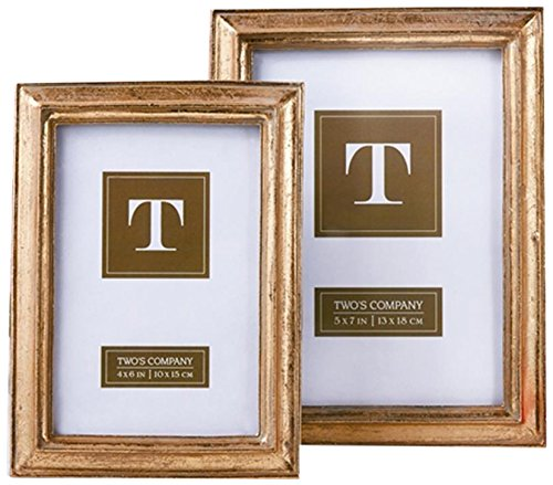 Two's Company 50390 Set Of 2 Gold Leaf Photo Frames Includes 2 Sizes