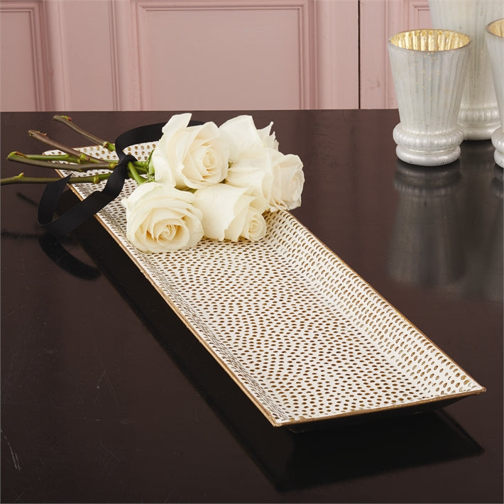 "Two's Company 24"" Gold Dot Mosaic Tray"