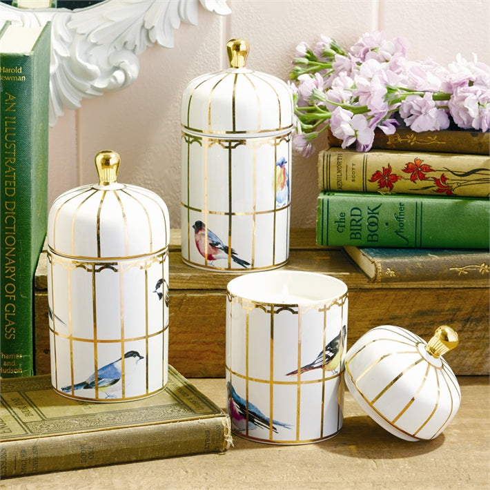 Two's Company Gilded Cage Lidded Fill Candle With Lemon Verbena, Set of 3 Asst