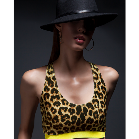 Dutty Wine Velvet Racerback Crop Top in Leopard + Yellow by SukiShufu