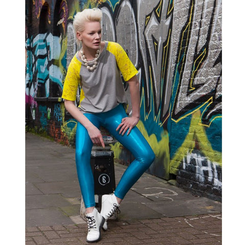 Suki Leatherback Long Leggings in Turquoise Blue