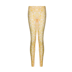 Suki Leatherback Long Leggings in Yellow Wave
