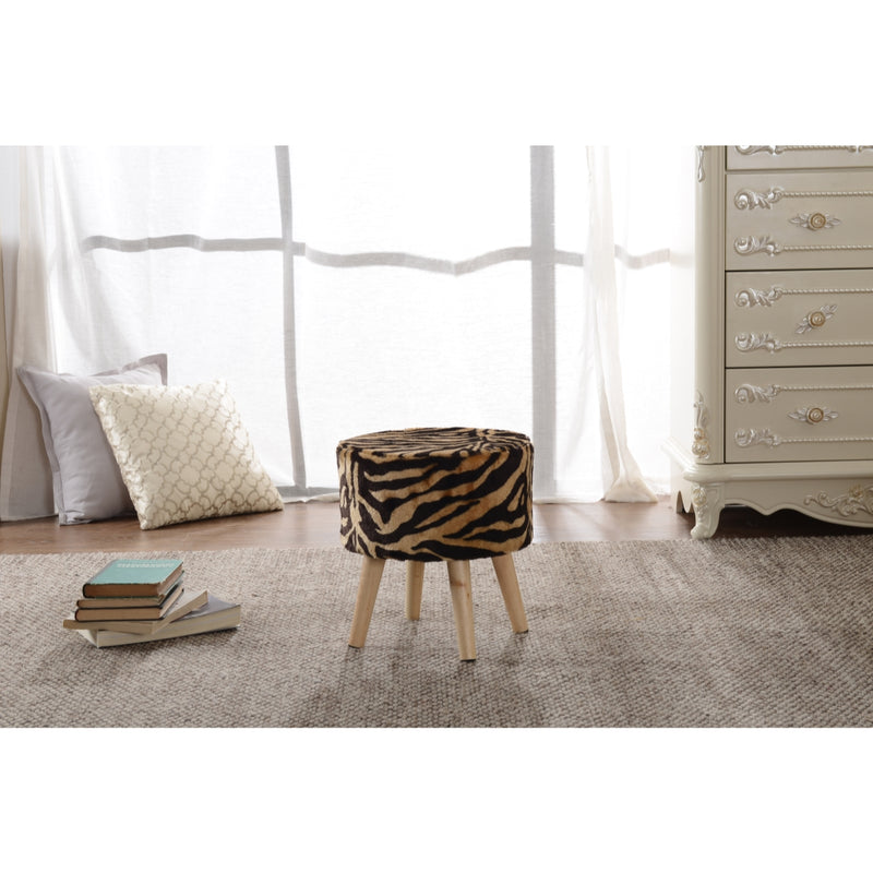 Cheer Collection Faux Fur Wood Leg Stool - Tiger