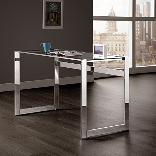 Ultra Modern Glass Desk by Coaster - Chrome Legs
