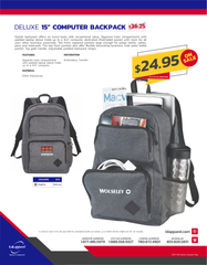 "DELUXE STOCK 15"" COMPUTER BACKPACK"