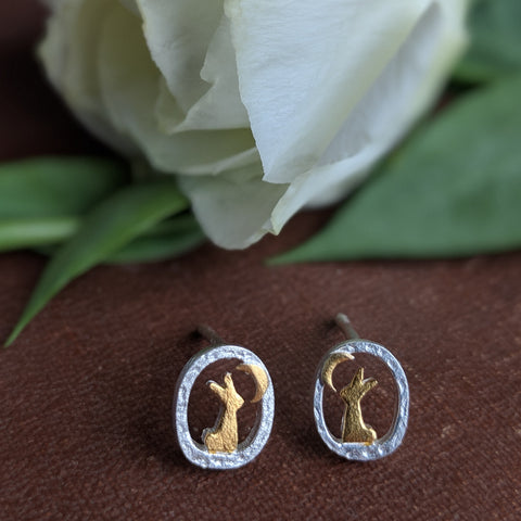 sterling silver rabbit earrings with gold plate rabbits looking towards moon - Everything Bunny Rabbit - rabbit jewellery - rabbit earrings