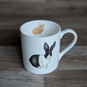 Rabbit Mug - bunny mug - Everything Bunny Rabbit - white fine bone china mug with rabbit design on - made in the UK