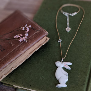 Bunny and Star Necklace - Grey