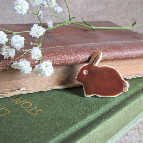 Rabbit Brooch - Bunny Brooch - Brown - handmade porcelain - Everything Bunny Rabbit