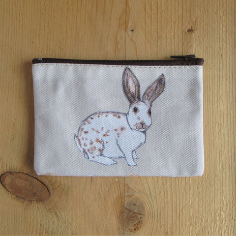 a fabric coin purse with zip and hand painted english spot rabbit - rabbit purse - Everything Bunny Rabbit - bunny purse - rabbit coin purse – english spot rabbit