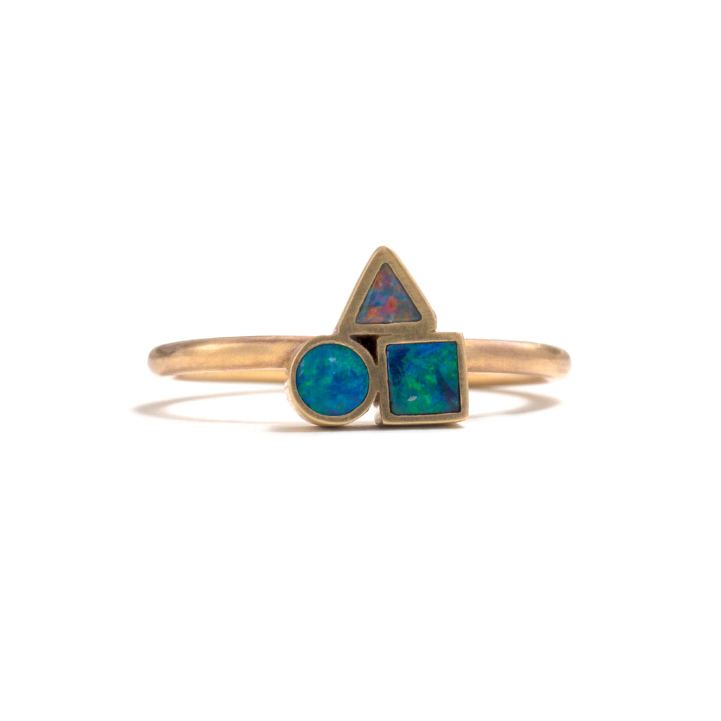 Golden Opal Element Cluster Ring
