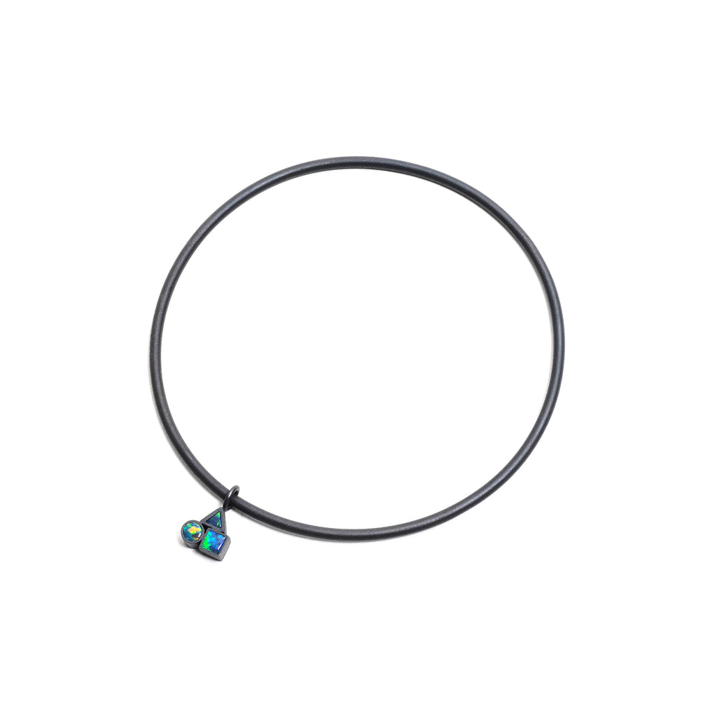 Oxidised Opal Cluster Charm Bangle