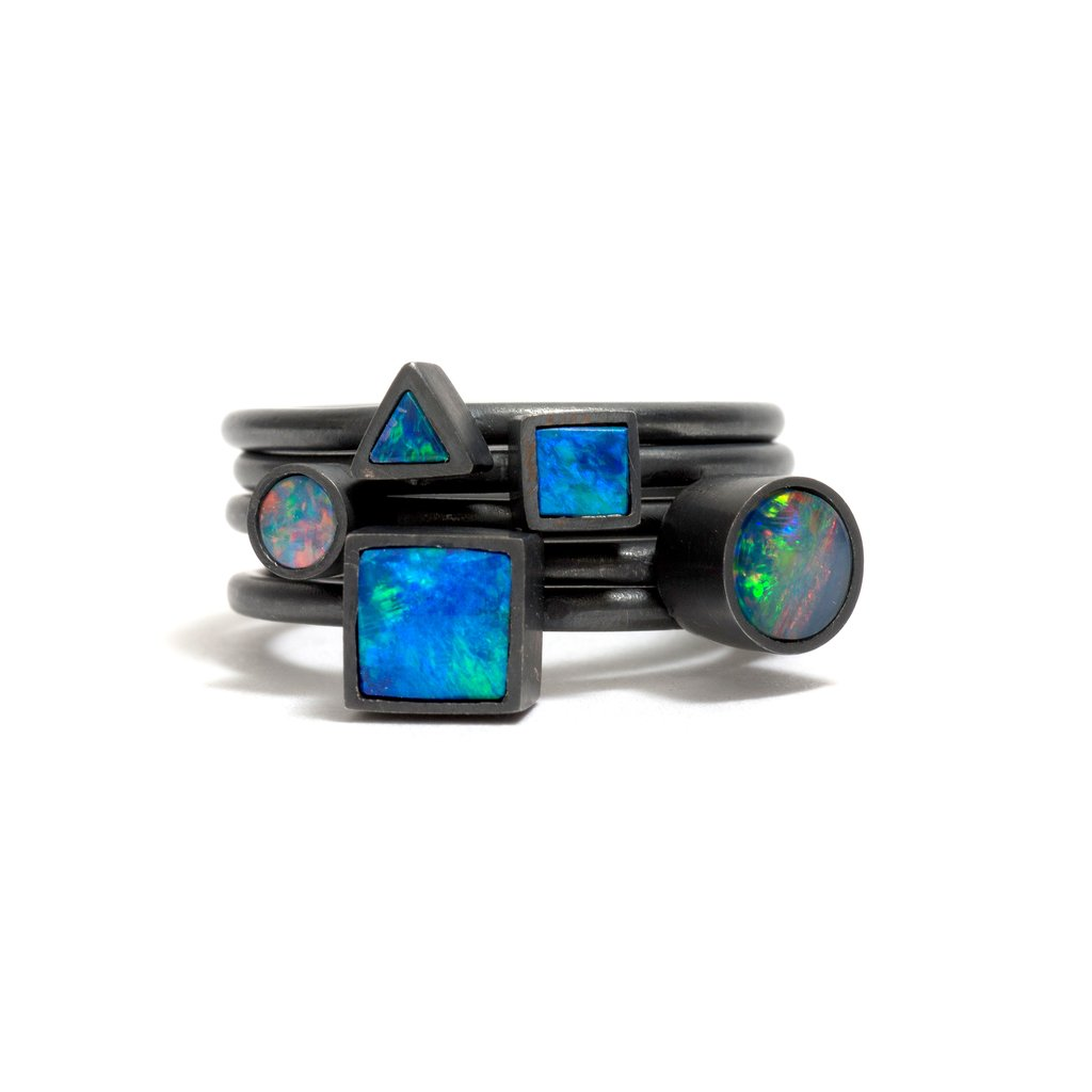 Oxidised Opal Element Small Stacking Ring