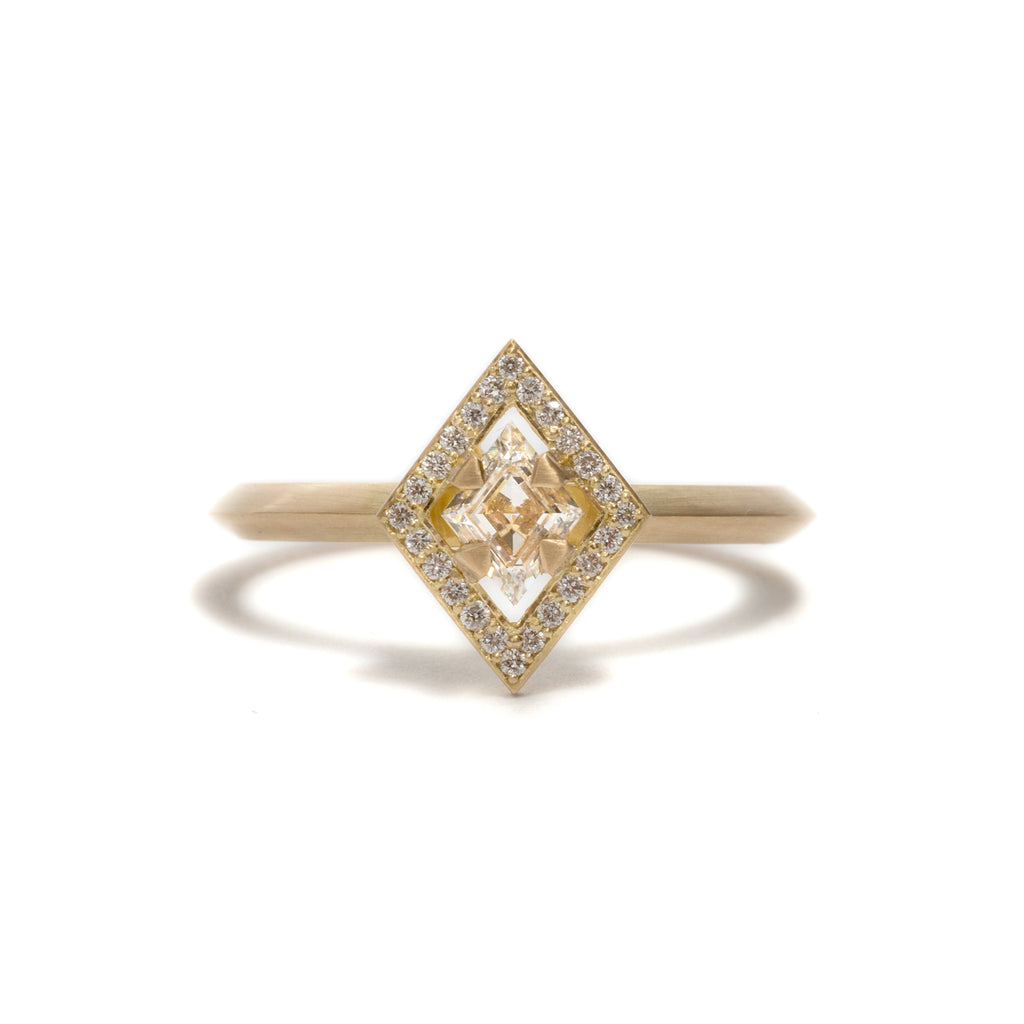 Rhombus Element Halo Engagement Ring