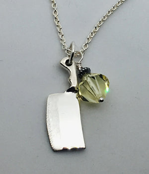Chef's Cleaver Pendant Necklace with Yellow Swarovski Crystal Charm