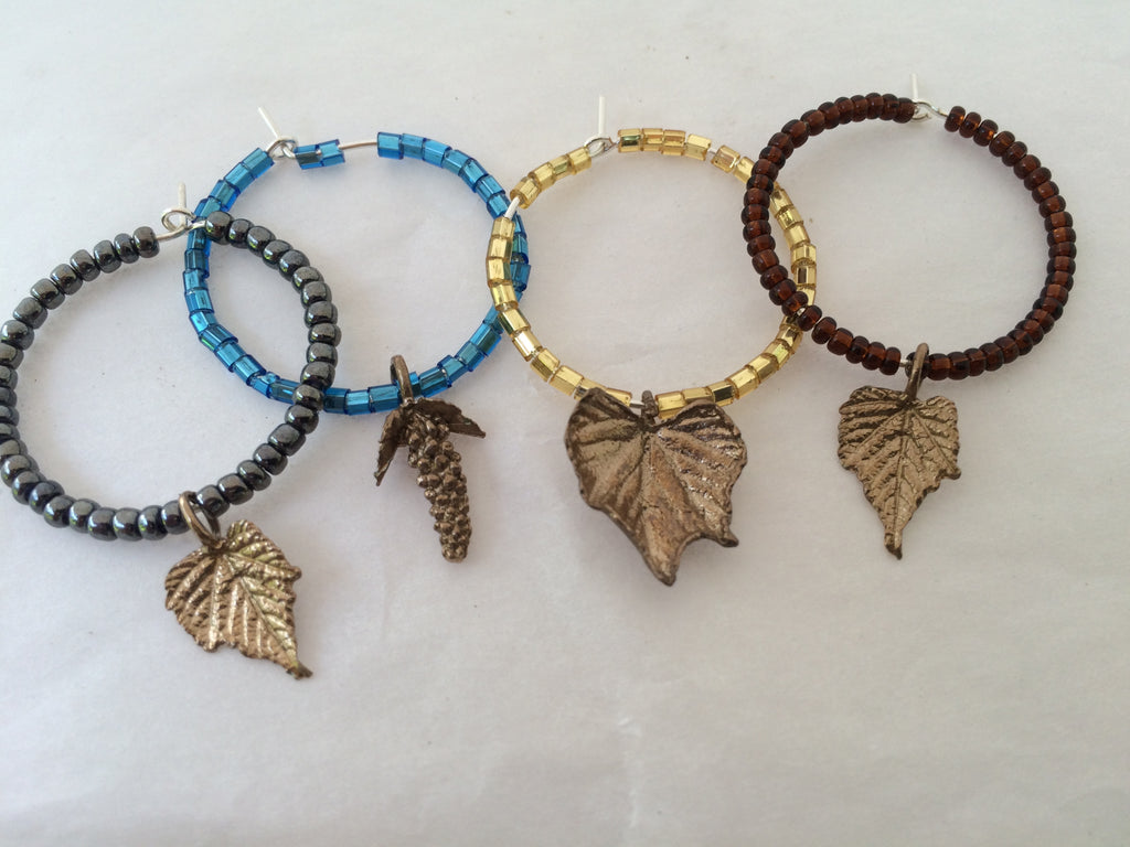 Grape Leaf Wine Lover Glass Charms