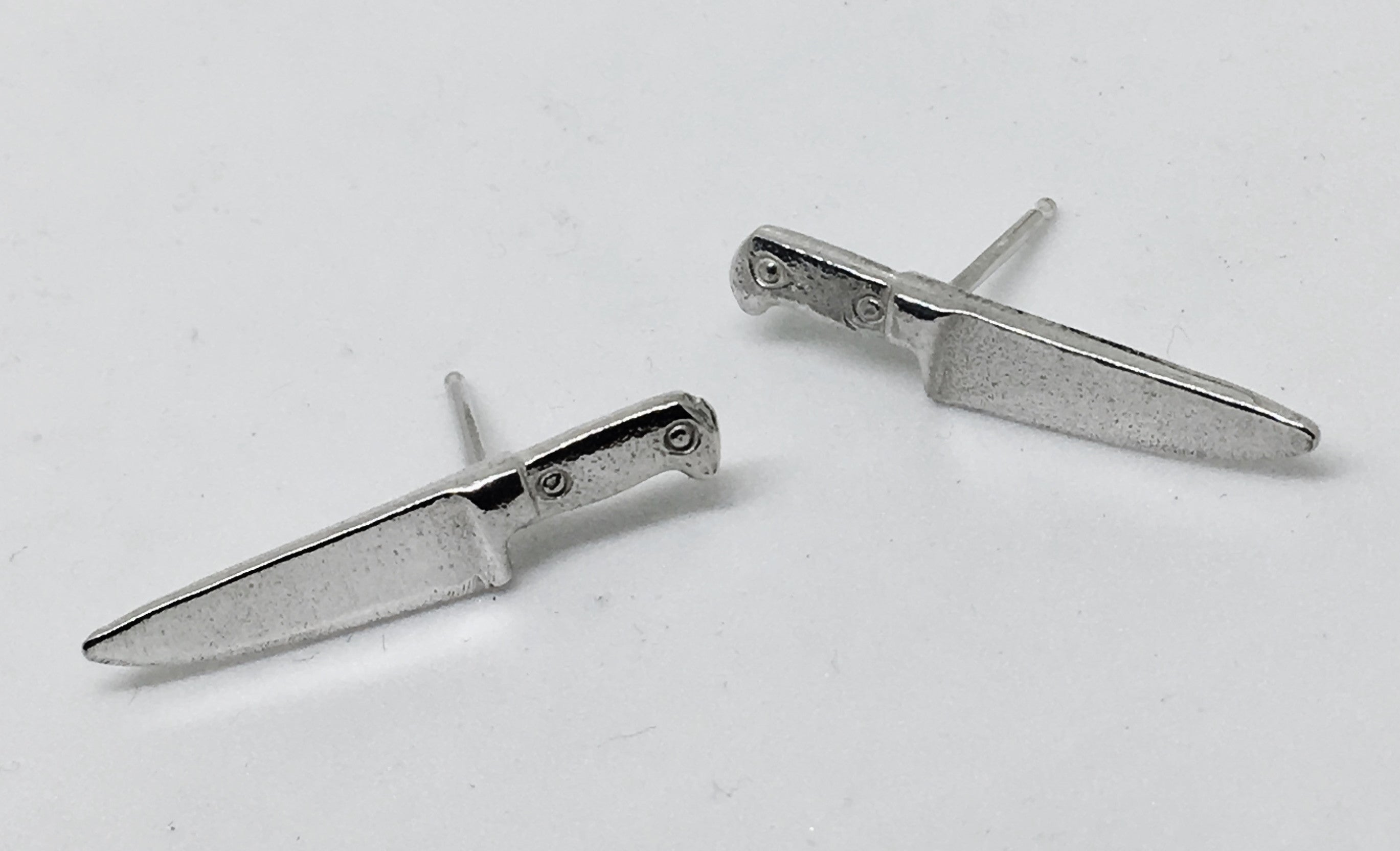 Chef Knife Stud Earrings in Sterling Silver