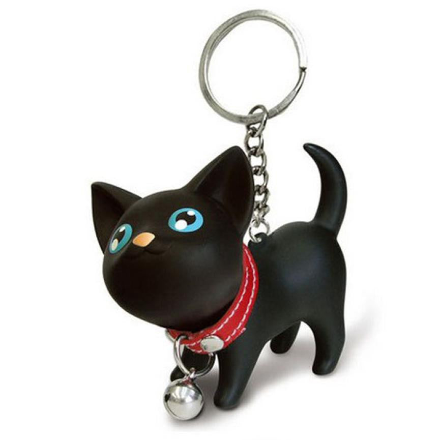 Cat Kitten Keychain Keyring Bell Toy Lover Key Chain Rings For Handbag BK cat Doll key ring Vinyl PU  6*3*5.7 cm Nice accessorie