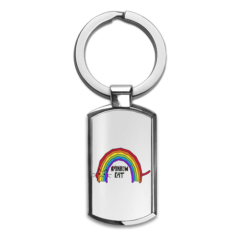 Rainbow Cat Premium Stainless Steel Key Ring| Enjoy A Unique  & Personalized Key Hanger To Carry Your Keys W/ Style| Custom Quality Prints| Household Souvenirs By Styleart