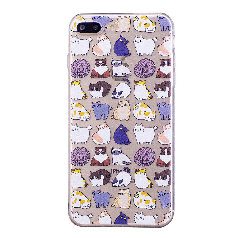 Cute Cartoon Design Phone Cover Transparent TPU Case Kittens Pattern Soft Protector Shell for iPhone
