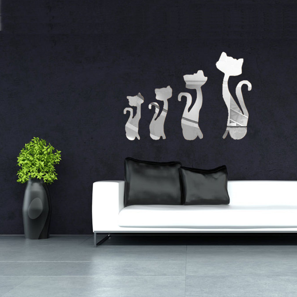Modern Mirror Acrylic Removable Cat Decal Art Mural Wall Sticker Home DIY Decor