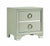 BM196266 - Two Drawers Wooden Nightstand with Oversized Ring Handles, Silver