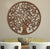 UPT-195272 - Circular Mango Wood Wall Panel with Cutout Tree and Bird Carvings, Antique Brown