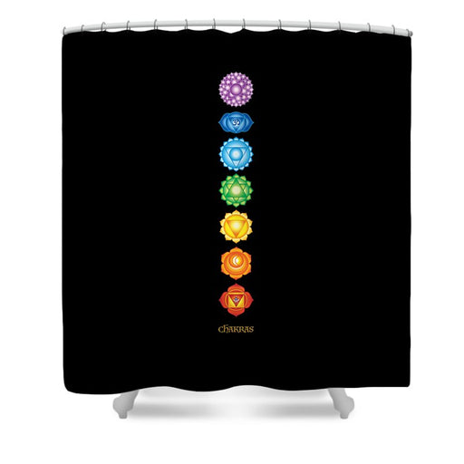 The 7 Chakras On Black - Shower Curtain