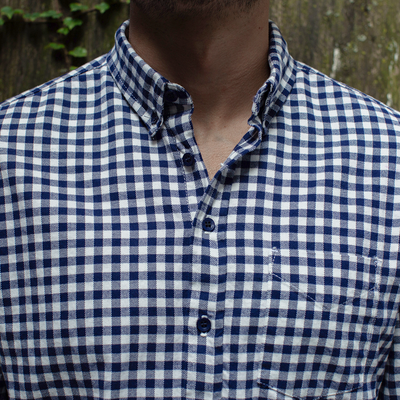 Navy Gingham Flannel