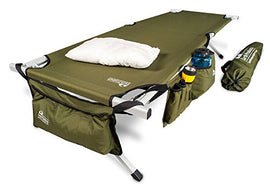 "EARTH Ultimate ""Extra-Strong"" Military Style Camping Cot, 5-YEAR WARRANTY, w/Free Side Storage Bag System and Pillow"