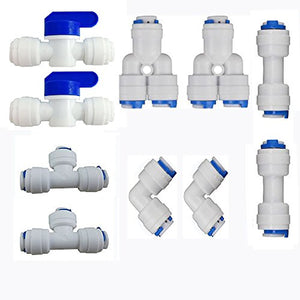 "Neeshow 1/4"" OD Quick Connect Push In to Connect Water Tube Fitting Pack Of 10 (Ball Valve+Y+T+I+L Type Combo) - Farmer Brad LLC"