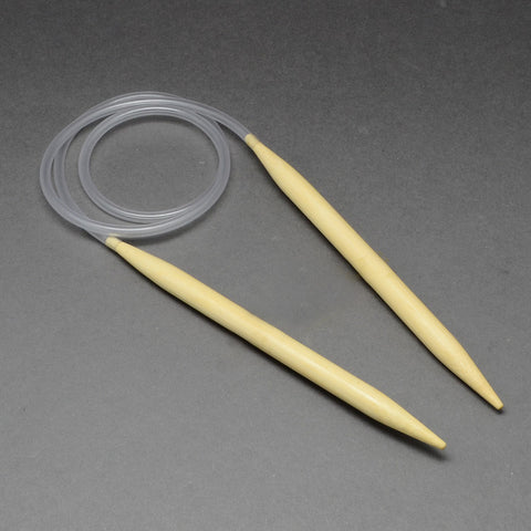 Rubber Wire Bamboo Circular Knitting Needles, LightYellow, 800x2mm
