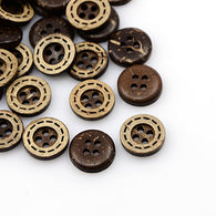 Pack of 20 Coconut Buttons, 4-Hole, Flat Round, CoconutBrown, 11x3mm