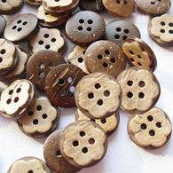 Pack of 20 Carved Round 4-hole Button, Coconut Button, BurlyWood, 13mm