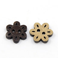 Pack of 20 Coconut Buttons, 2-Hole, Flower, CoconutBrown Size: about 17mm wide, 15mm long, 4mm thick, hole: 2mm.