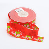 1m of Christmas Elf Printed Polyester Grosgrain Ribbon