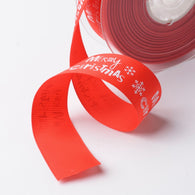 1m of Merry Christmas with Snowflake Polyester Grosgrain Ribbon for Christmas, Red, 1